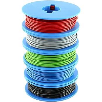 NorthPada 20 AWG 0,5mm/² Kit de Fil /électrique torons Fils de silicone Fil /étam/é C/âble Cable de cuivre 6 Couleur pour circuit imprim/é PCB 600V 5A 200 /° C 6 x 7m/ètres 60 /° C