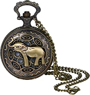 Pocket Watch for Men and Boys Vintage Bronze Elephant Decorative Case Arabic Numeral Dial Quartz Analog Pocket Watch with Chain for Halloween Costume Party Christmas