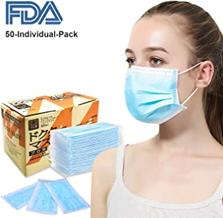 Disposable Face Mask Surgical Mask - Azmall 50PCS Individually Wrapped Mouth Mask Non-Woven Fabric 3 Ply Disposable Medical Face Mask Disposable Dust & Filter Safety Masks
