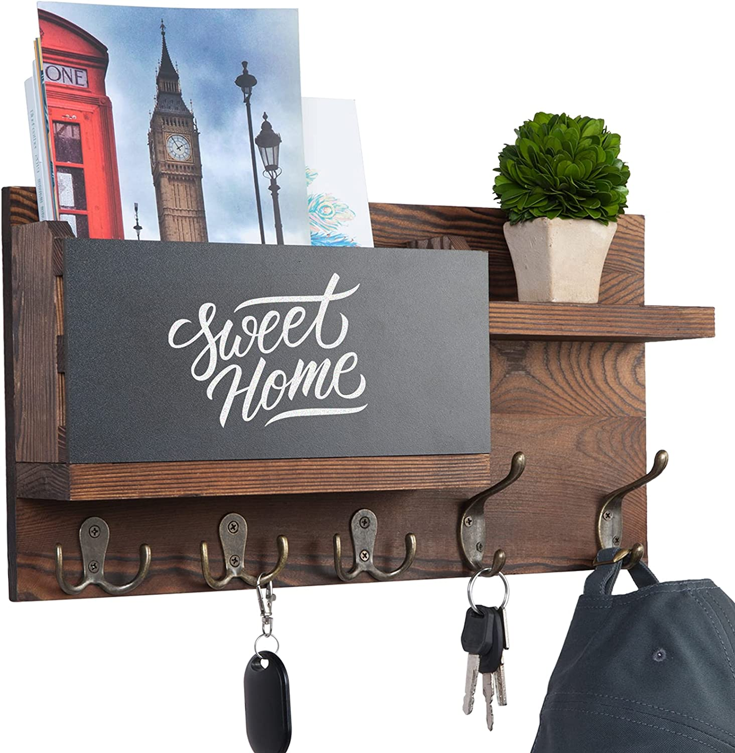 Key and Mail Holder for Wall Decorative, Mail Organizer Wall Mount with Chalkboard Surface and 5 Key Hook, Sturdy Pine Wood Key Rack, Rustic Wall Key Holder for Entryway, Front Door, House Decor