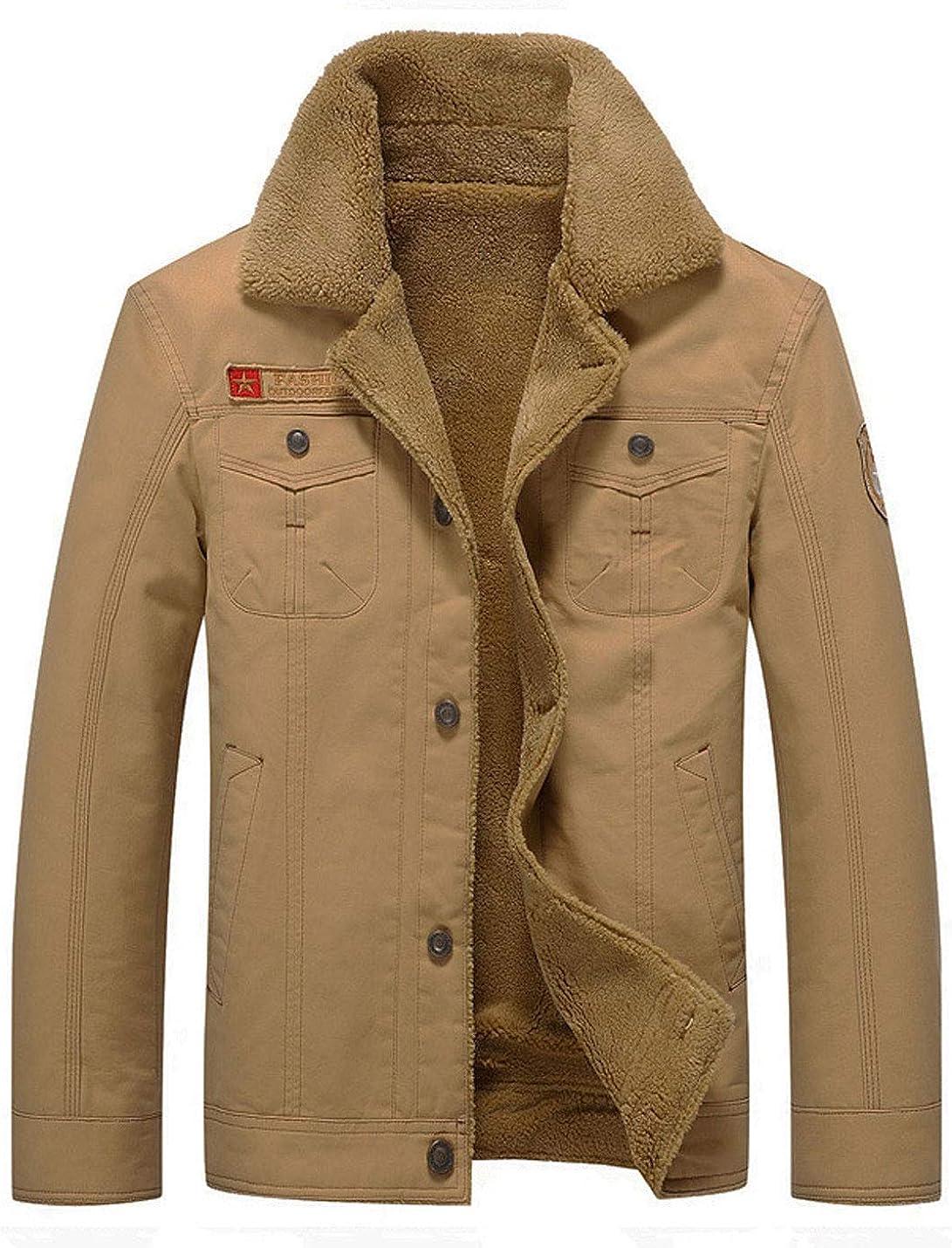 Omoone Men's Button Up Lapel Fleece Lined Winter Military Parka Bomber Jacket