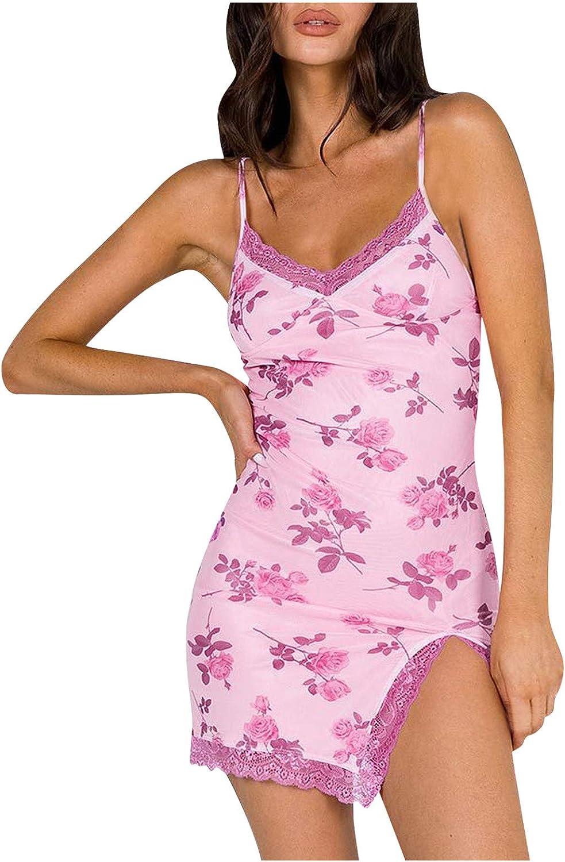FUNEY Women's Deep V Neck Lace Trim Floral Print Camisole Dresses Sexy Slim Patchwork Lingerie Mini Dress