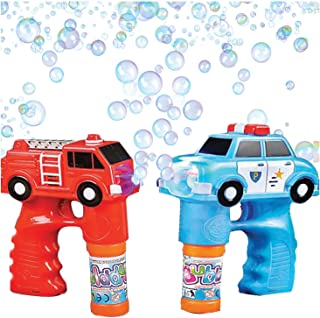 Bubble Machine Blower Gun Fire and Police Set by Art Creativity - Flashing Light and Sound Shooter Blasters - Kids Toys - Fire Truck, Police Cruiser, 4 Solution Refills - Batteries Included