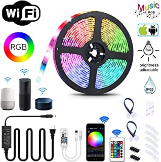 YUNLIGHTS 16.4ft LED Strip Lights with Remote / Smart Phone APP Cotrol 300 LED Strip Lights Music Sync IP65 Waterproof LED Rope Lighting UL Plug for Home Hotel Bar Christmas Outside Decorations