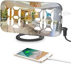 Sveglia Digitale, Specchio LED Sveglia Elettronica con 3 Luminosità Modalità Dimming, Doppia Ricarica Porta USB e Pulsante Grande Snooze per La Decorazione del Soggiorno Della Camera da Letto