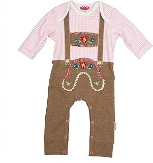Eisenherz Baby Strampler rosa kariert Langarm mit Druckverschluss im Schritt Lederhose mit Hosenträgerapplikation in verschiedenen Größen - süßer Trachtenlook