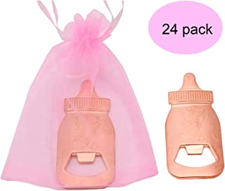 24pcs Rose Gold Baby Bottle shaped Bottle Openers with 48 pack Pink Organza Bags Baby Shower Return Gifts Wedding Favors for Guests Party Favors (Pink)