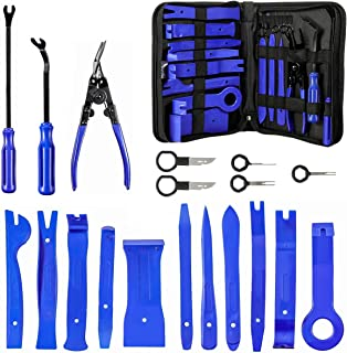 MATCC Trim Removal Tool 19 pcs Car Door Panel Dash Audio Radio Removal Tools Kit Automotive Pry Tools Kits Car Upholstery Repair Kit Window Molding Fastener Removal Tool Set with Storage Bag