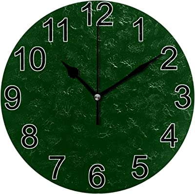 JERECY Wall Clock Dark Green Silent Non Ticking Acrylic 10 Inch Home Decorative Office School Round Clock Art