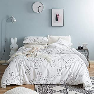 YuHeGuoJi 3 Pieces Duvet Cover Set 100% Cotton King Size Cartoon Rabbit Pattern Bedding Set 1 Animal Print Duvet Cover with Zipper Ties 2 Pillowcases Hotel Quality Soft Easy Care Breathable Durable