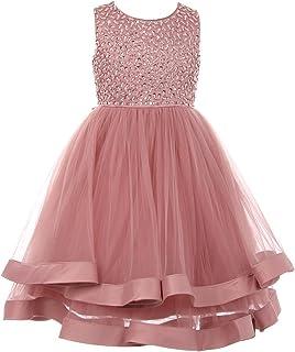 d7ba9205aea Cinderella Couture Little Girls Rose Dazzling Sequin Tulle Satin Band Flower  Girl Dress 2-6