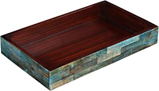 Handicrafts Home Verdigris Trays – Ideal Ottoman Tray – Multipurpose Bone Inlay Serving Tray or Simply Use as a Decorative Tray 10X6 – Thanksgiving Gifts