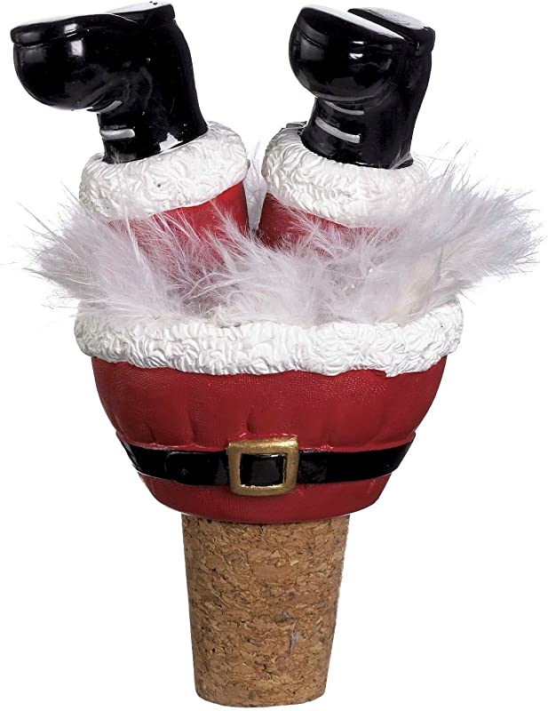 Ganz Christmas Wiggle Legs Wine Bottle Toppers Santa Boots