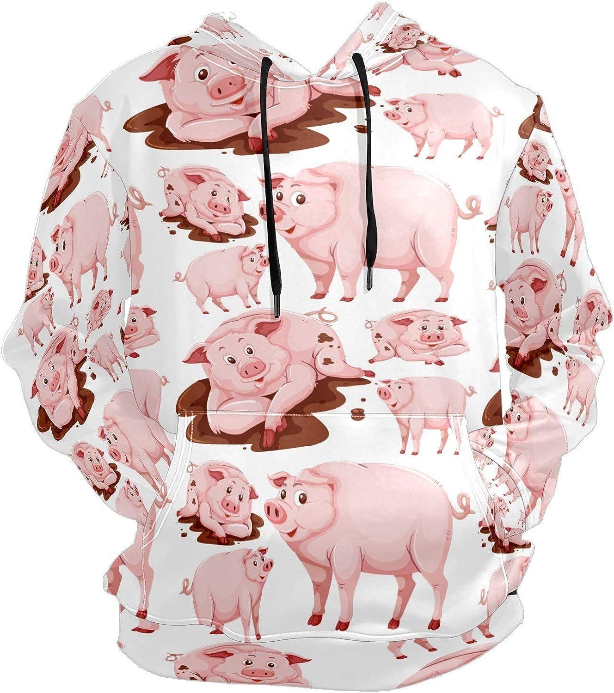 Men's Sport Hoodie Pink Smile Pig Funny Animal Big and Tall Hoodies for Men Women Oversized Hooded Sweatshirt Hip Hop Pullover Hoodie Midweight Hood for Boys Girls