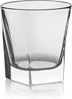 Circleware 10131 Ice Cube Heavy Base Whiskey Glass, Set of 4, Kitchen Entertainment Drinking Glassware for Water, Juice, Beer and Bar Liquor Dining Decor Beverage Cups Gifts, 10 oz,