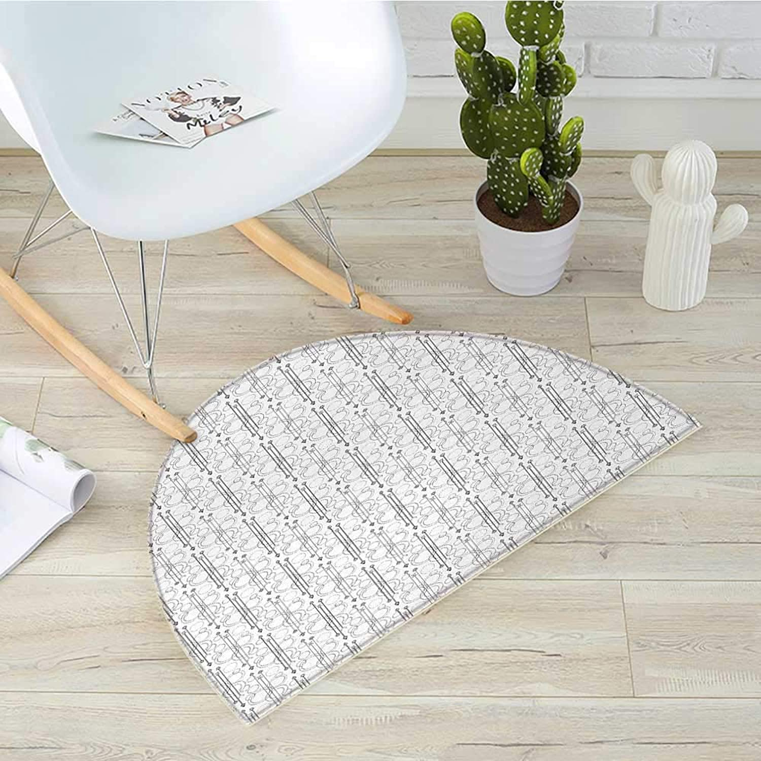 Tattoo Half Round Door mats Black and White Pattern with Contemporary Techno Geometric Shapes Arrows Circles Bathroom Mat H 31.5  xD 47.2  Black White