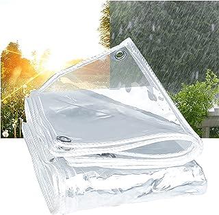 透明篷布 透明篷布 防水重型带孔眼 PVC 防雨篷布 家具户外花园植物罩 660g/m²,0.5mm,2.3x2.4m