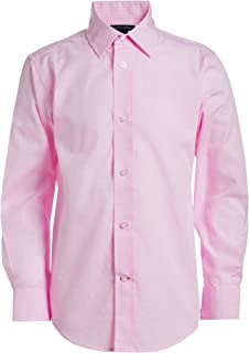 Boys Long Sleeve Dress Shirt, Collared Button-Down with...