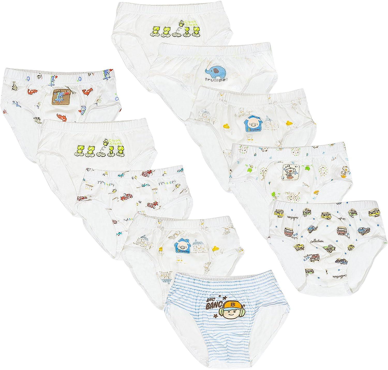 Big and Little Boys' 10-Pack 100% Organic Cotton Briefs Underwear
