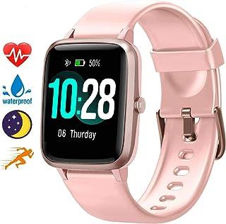 Blackview Reloj inteligente para teléfonos Android y teléfonos iOS, monitor de actividad todo el día con monitor de sueño de frecuencia cardíaca, pantalla táctil completa de 1.3 pulgadas, podómetro impermeable 5 ATM, reloj inteligente para hombres y mujeres, Rosado