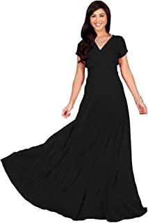 12229d626b KOH KOH Womens Sexy Cap Short Sleeve V-Neck Flowy Cocktail Gown