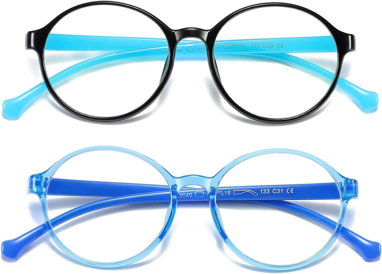 Kids Blue Light Blocking Glasses 2pack, UV Protection & Anti eyestrain Flexible TR90 Glasses for Kids Boys Girls Ages (3-10) (Black Blue+ Transparent Blue)