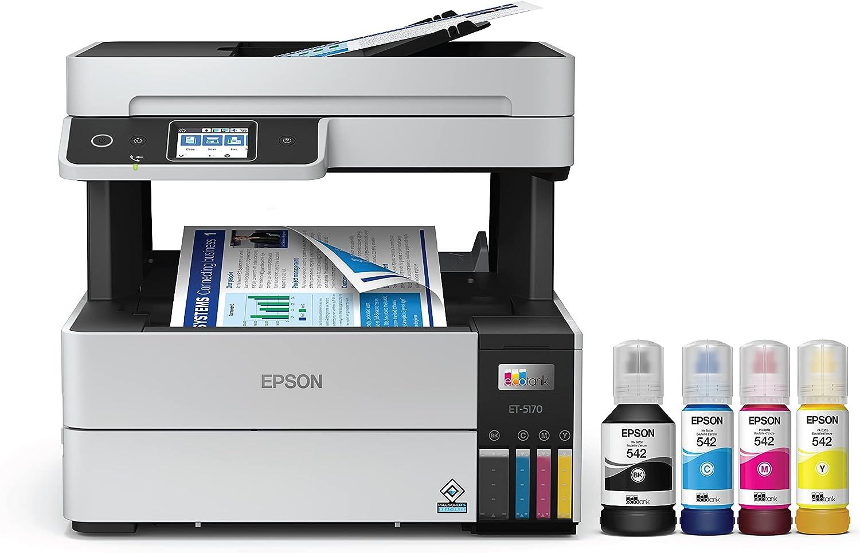 Epson EcoTank Pro ET-5170 Wireless Color All-in-One Supertank Printer with Scanner, Copier, Fax Plus Auto Document Feeder