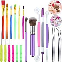 19 Pieces Cake Decorating Tool Set, Sugar Cookie Brushes Fondant Gum Paste Tool Fondant Flower Elbow and Straight Tweezers...