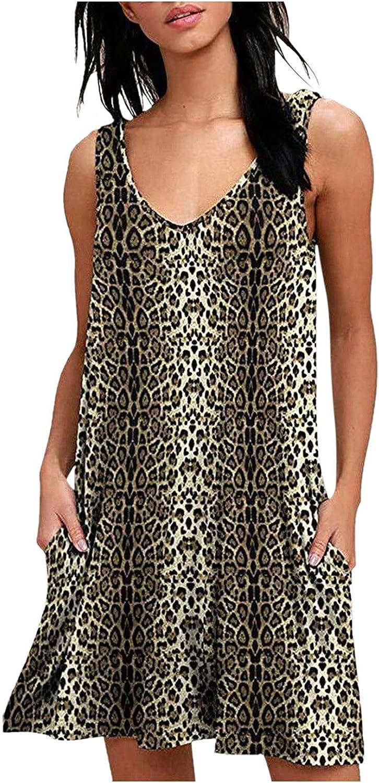 ManxiVoo Women's Leopard Print Tank Dress Summer Swing Simple Sleeveless T-Shirt Short Dress with Pockets