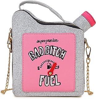 ENJOININ Fashion Sequin Fuel Bottle Design Pu Leather Handbag Shoulder Bag Chain Crossbody Shoulder Bag Girl Clutch Purse