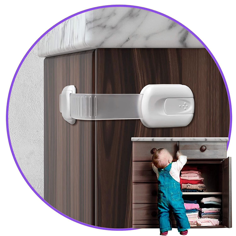 5PCS Child Safety Strap Locks for Fridge, Cabinets, Drawers, Dishwasher, Toilet, 3M Adhesive No Drilling