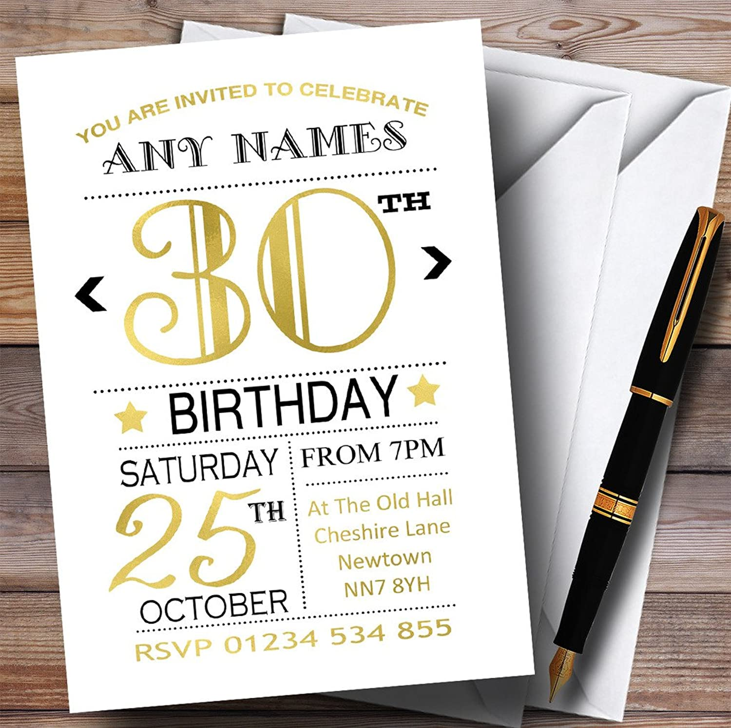 White Black & gold gold gold 30th Personalised Birthday