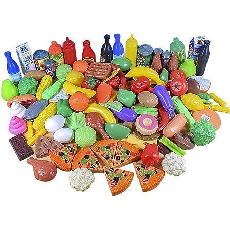 JZK 120 Piezas Alimentos de Juguete plástico, Juguete Corte de Frutas y Verduras, temprano Desarrollo educación Juegos para niños, Juguetes de Comida para niños Juego imaginativo