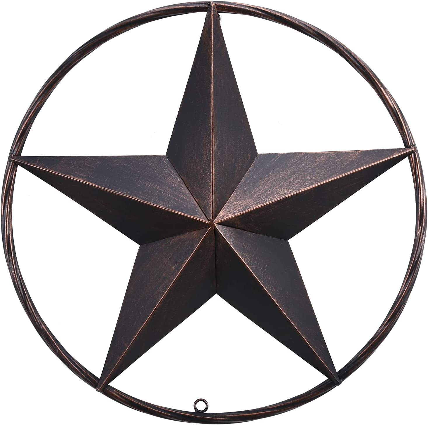 18 inch Dark Bronze Barn Star for Wall,Metal Stars for Outside, Texas Star Metal Wall Décor for House, Iron Rustic Vintage Decoration, Western Country Home Farmhouse Wall Art Outdoor Decorations