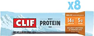 CLIF Whey Protein - Snack Bar - Peanut Butter & Chocolate - 1.98 Ounce, 8 Count, Packaging May Vary