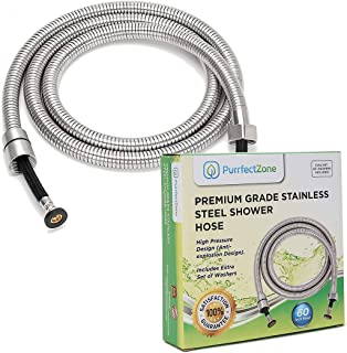 Bidet Hose Replacement | Shower Hose | Shower Head Hose | Handheld Showerhead Hose| Long Shower Hose Extension | Shower Pipe for Bathroom, Toilet, Hand Held Shower Hose (60 inches, Brushed Nickel)