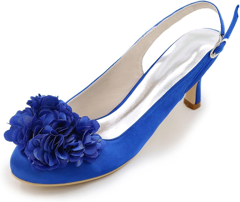 Eleboeb Frauen Hochzeit Schuhe Handmade Satin Silk wie geschlossene Zehe Buckle Mid Heels   6 cm Heel