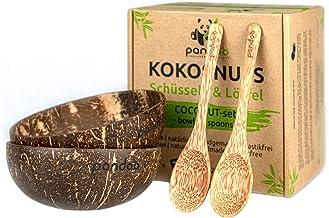 pandoo Juego de 2 Cuencos de Coco Producto 100% Natural – Alternativa Libre de plástico – Hecho a Mano y Pulido con Aceite de Coco