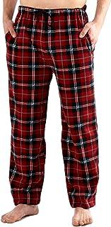 Men's Classic Checked Polar Fleece Lounge Wear Pyjama Bottoms Nightwear Sleepwear - Red - XX-Large