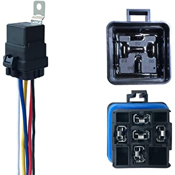 amazon.com: 1 pack 40/30 amp 12 v dc waterproof relay and harness - heavy  duty 12 awg tinned copper wires, 5-pin spdt bosch style automotive relay:  industrial & scientific  amazon.com