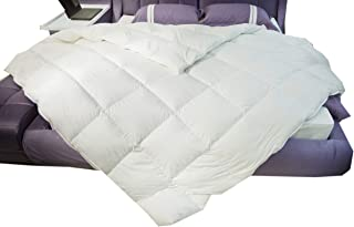 Eastwarmth All Seasons Luxury Goose Down Comforter Extremely Soft Duvet Insert, 100% Organic Cotton, Downproof Shell Solid White Twin/Twin XL Size