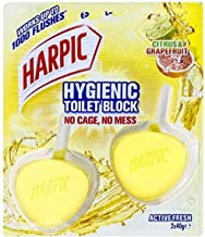 Harpic Active Fresh Hygienic Toilet Block Cleaner Twin Pack, Citrus, 80 g