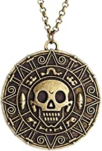 lureme Inspired by Pirates of The Caribbean Movies Cursed Aztec Coin Medallion Necklace Skull Necklace(01003817)