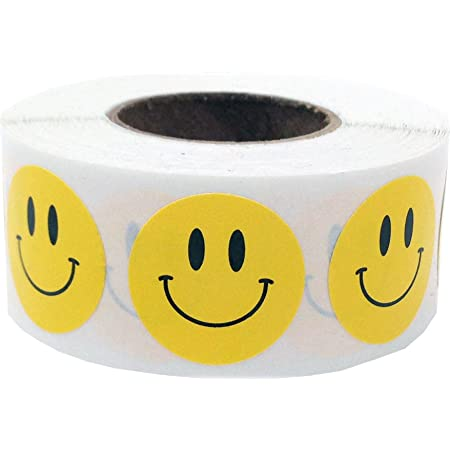500* Smiley Face Stickers Thank You Handmade School Labels Happy Seal Decal H104