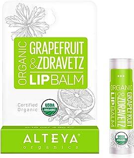 Alteya Organic Bálsamo Labial de Pomelo y Geranio 5 gr – USDA Certificado Orgánico Bio Producto Natural para Cuidado Labia...