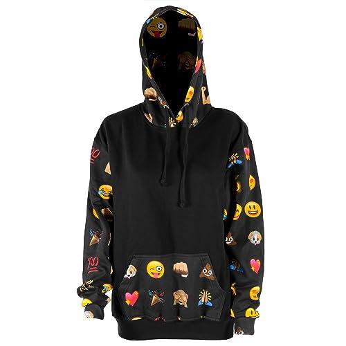 f69381f15545 Colorful and Fun Emoji Black Fashion Hoodie Hooded Hood Sweatshirt Adults