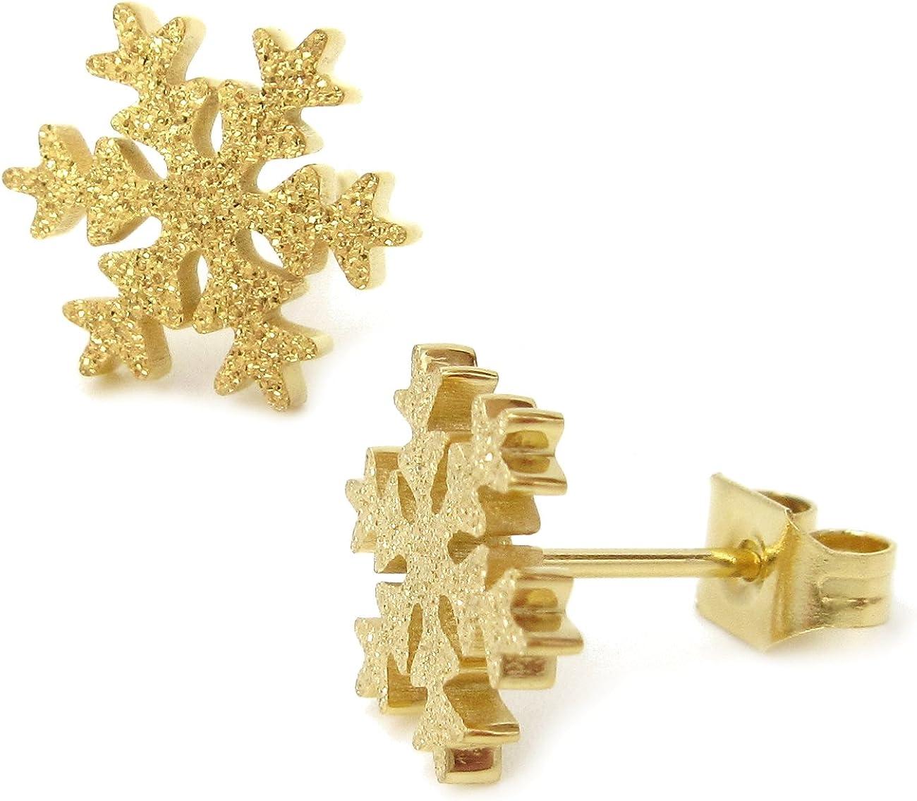 Stainless Steel Sandblast Gold Color Snow Flake Post Stud Earrings For Women Girls 10m