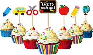 Welcome Back To School Cupcake Toppers | Classroom Decorations Party Supplies | First Day of School Accessories | Children Kids Teens | Office School Cute Cake Topper | Teacher Decor Ideas