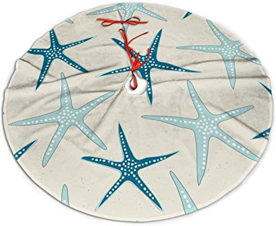 Nautical Starfish Beach Coastal Sea Beachy Funny Colorful Nave Blue Themed 48 Inch Big Christmas Plush Tree Skirt Carpet Mat Rugs Cover Large Round Pad Classic Xmas Party Favors Ornament Decoration