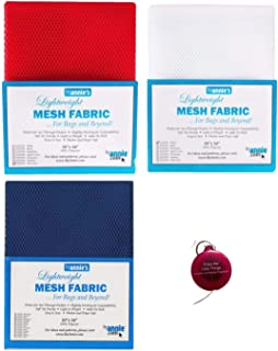 """ByAnnie's Mesh Fabric Lightweight Bundle- Atomic Red, White and Blast Off Blue 18"""" x 54"""" with Tape Measure -Bundle of 4 It..."""